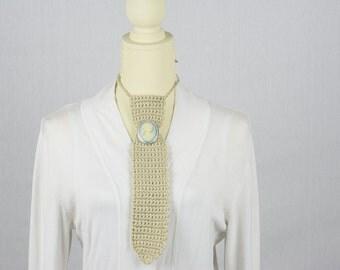 Crochet Beige/Ivory Ladies Necktie