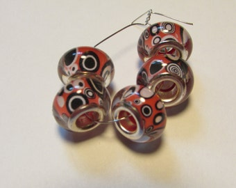 5 glass beads fits european bracelet LHJ4-2