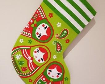 Christmas stocking, Babushka stocking, Russian doll stocking, Russian doll christmas stocking, christmas stocking, christmas decor