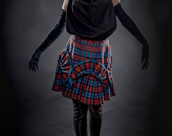 Red and Blue Tartan skirt, flower shaped