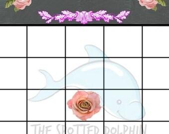 Baby Shower Bingo Girl - Printable Card - DIY - Baby Shower Games - Digital Download