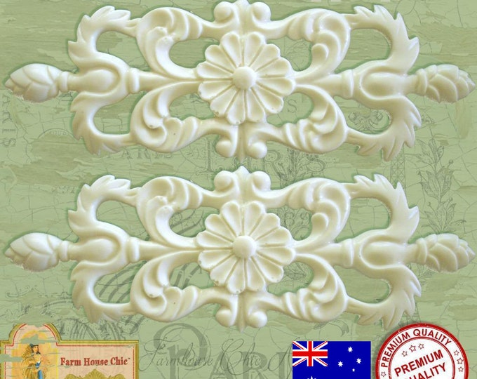 2 x Gorgeous Shabby Chic French Small Furniture Appliques Mouldings Decorations Made in Australia