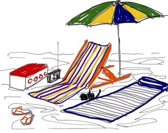 60s beach set-up