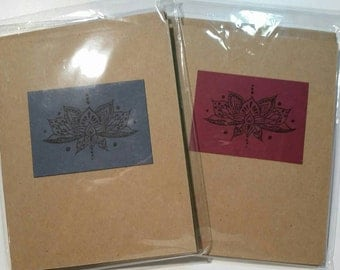 Decorative lotus stamped note cards. Pack of five.