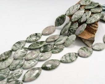 Natural Peace Jade Marquise Beads 16 inch Strand