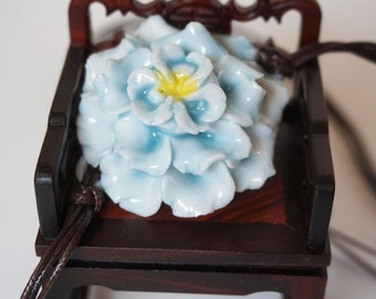 Ceramic Necklace - Peony - sky blue - CN002