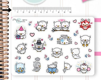 Kawaii Owls Stickers Cute Owls Stickers Owl Stickers Planner Stickers Erin Condren Functional Stickers Decorative Stickers NR710