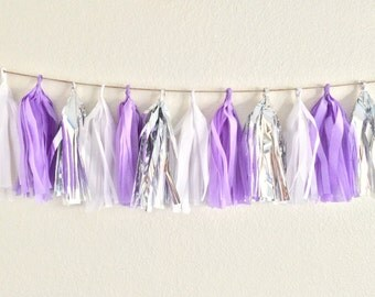 Purple & Silver Tassel Garland