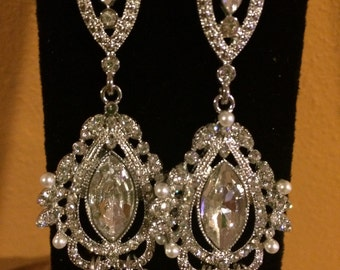 Rhinestone and Pearl Chandelier earrings