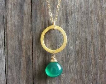 Green Onyx Necklace, Gold Filled Chain, Green Gemstone Pendant, Boho Chic Jewelry