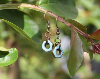 rustic single hex nut earrings