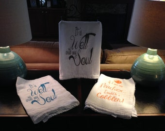 Get all three of these hand printed towels.