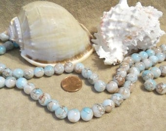 Strand of 10 mm Round Glass Beads, Aqua/Cocoa Marbled (L13)