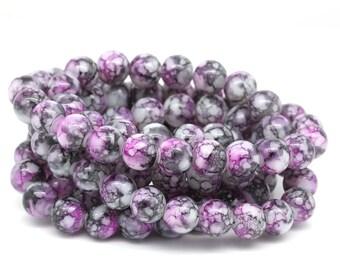 1 Strand Mottled 8mm Glass Beads Pink/Gray/White (B20b)