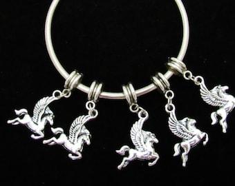 10 Antique Silver Pegasus Euro Style Charm Dangle Beads (B25d1)