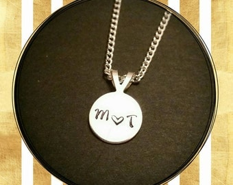 Handstamped Initial Necklace
