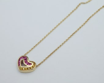 18K Heart Pendant with Pink and Yellow Sapphire