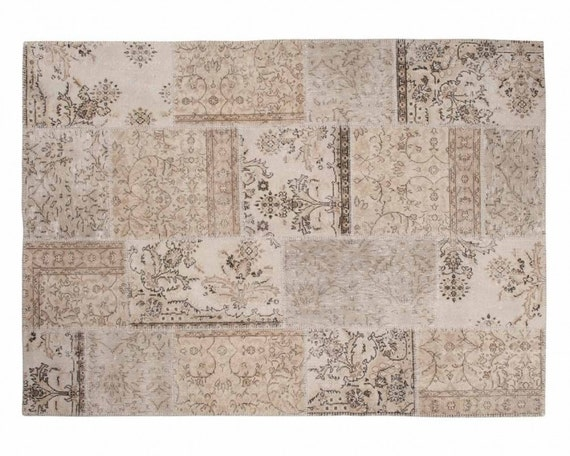 Ela: Vintage Off White Carpet Patchwork Design Handmade in Turkey Recolored