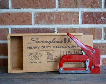 Vintage Swingline Red Stapler Staple Gun Swingline 800 Retro Red Stapler Staple Gun
