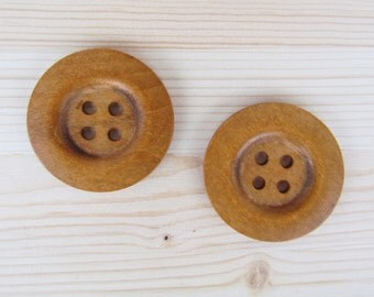 50 mm - 2 big brown wood buttons (50 mm)