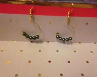 Hunter Green Pearl Drop Earrings