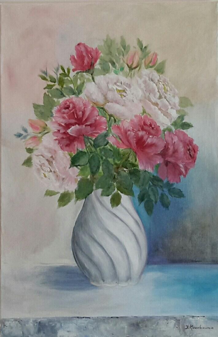Vase Roses Painting Vase Of Flower Acrylic Painting On
