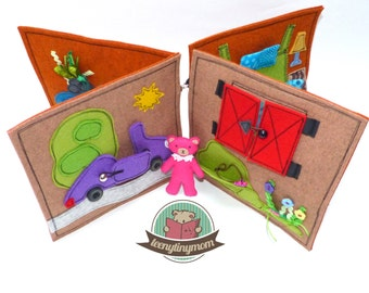Pink Miss Teddy's house to go Quiet book traveltoy