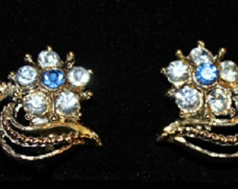 Vintage; Earrings; Light Blue; Dark Blue; Sapphire; Swarovski Crystal; Silver Plated; Screw Back; 313035