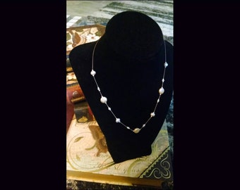 Exquisite Knotted White Floating Pearl  Necklace on Silk Cord