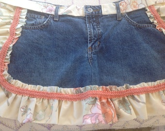 Upcycled Denim Jeans Apron.  Beige & coral floral ruffle and trim. Medium.