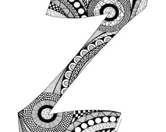 Letter Z Monogram Print - Zentangle Inspired