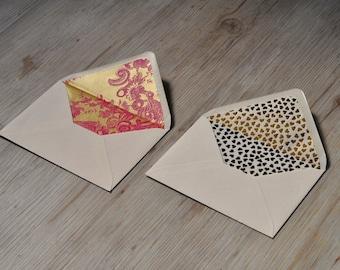 lined envelopes, A set of 2, 2 Stück, Golden hearts, Pink gold florals, gold foil, envelopes, wedding invitation