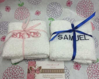 personalised embroidered towels and flannels