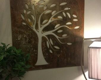 Leafy Tree Wall Metal Art