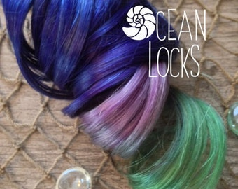 "Blue hair, IN STOCK, 16"" Long, Green hair, Purple hair, Ombre Hair Extensions, Hair extensions clip in, Human Hair Extensions, Mermaid Hair"