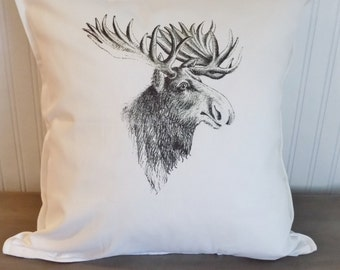 moose, moose print, pillow cover, cushion cover, Moose pillow, decorative pillow, throw pillow,cushion, country style, vintage style,