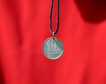 Necklace 10 kopeek 1990 year USSR, Coin necklace, USSR, Soviet Union, Vintage necklace, Coin jewelry, Russian Coin, СССР