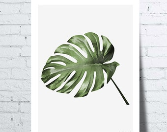 affiche feuille de monstera leaf monstera tropical wall. Black Bedroom Furniture Sets. Home Design Ideas