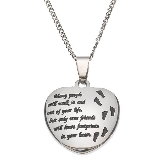 Many People Will Walk In and Out of Your Life but Only True Friends Will Leave Footprints In Your Heart.. Friendship Pendant Necklace