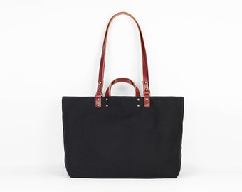 Black canvas bag with red leather detail - Tote bag - Handmade in France - canvas tote - canvas and leather bag - gift for women