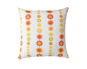 Flowers Pillow Cover white orange, yellow, green