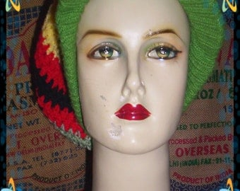 Cool upcycled vintage crochet rasta slouchy  hat