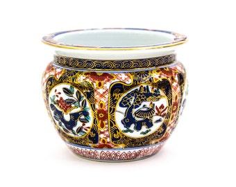 Imari Planter, Hand Painted, Japanese,Gold Imari, Cachepot