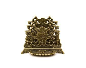 Italian Brass Ornate Letter Holder Desk Accessory