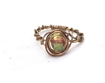 Handmade Blue and Gold Wire Wrapped Bronze Ring Size 6