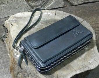 Black Leather Wrist Bag + Leather Clutch Bag + Handmade Wristlet + Cell Phone Case + Leather Wrist Bag + Travel Wallet + Leather Wristlet