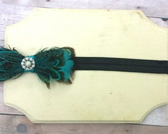 Baby headband, turquoise headband, black headband, feather headband, toddler headband,