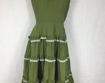 1950's Mode O' Day Mexican Vacation Tiered Cotton and Lace Dress - Ladies #E108