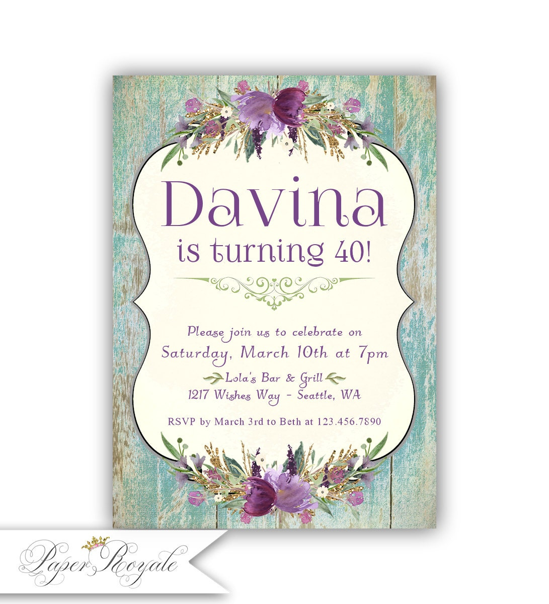 Birthday Dinner Invitations For Women 40th 50th 60th Or Any