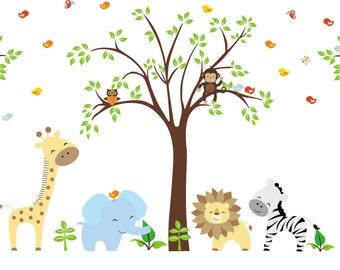 "Jungle Wall Decals - Nursery Room Decor - Kids Room Stickers - Kids Room Decals - Safari Animal Decals - Tree Wall Decal - 84"" x 109"""